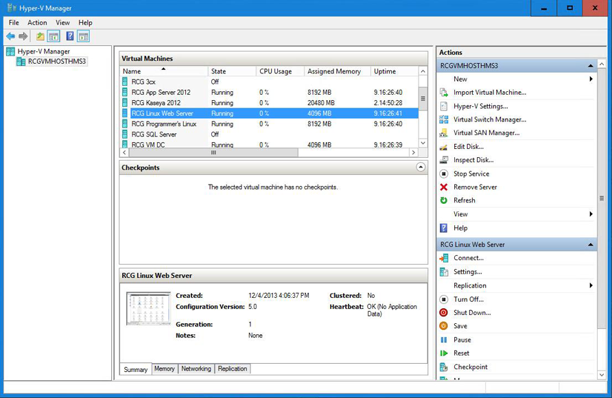 Screenshot of Hyper V Manager